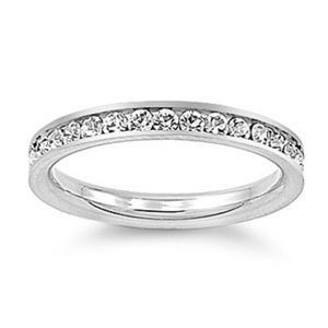 Jewelry - Sterling Silver 925 Eternity Ring With Clear CZ